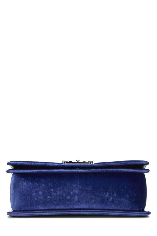 Blue Quilted Velvet Boy Bag Medium, , large image number 4