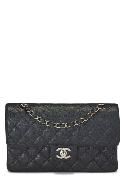 Black Quilted Caviar Classic Double Flap Small