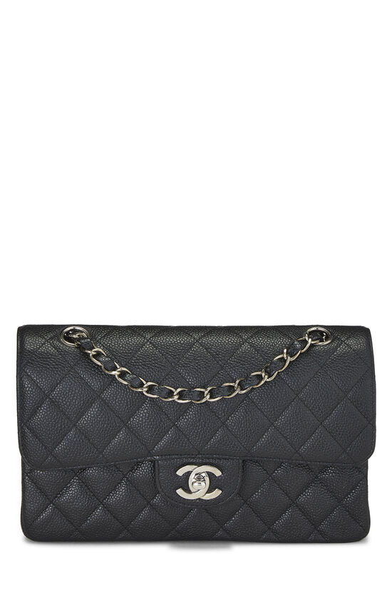 Black Quilted Caviar Classic Double Flap Small, , large image number 0