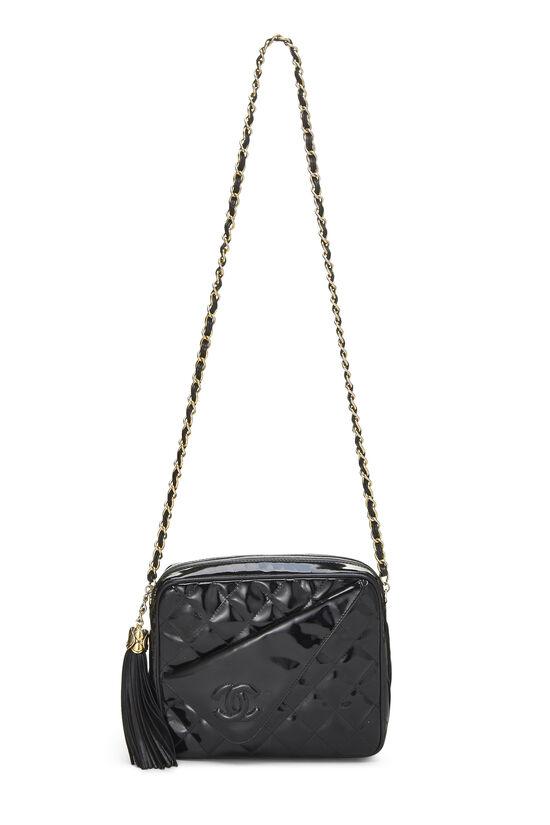 Black Quilted Patent Leather Pocket Camera Bag Mini, , large image number 6