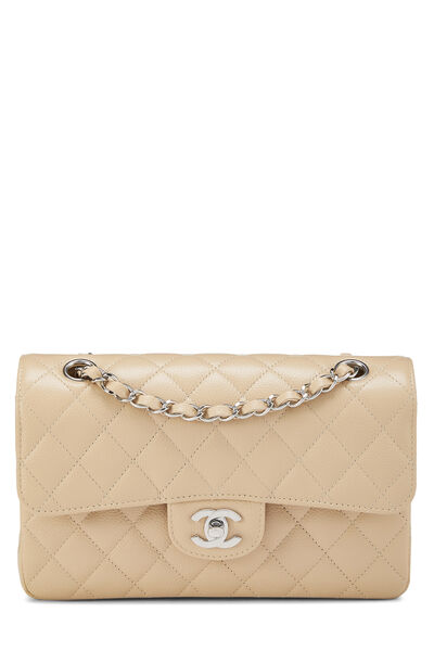 Beige Quilted Caviar Classic Double Flap Small