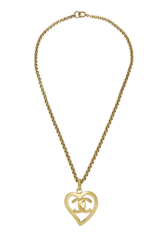 Gold CC Open Heart Necklace, , large image number 0
