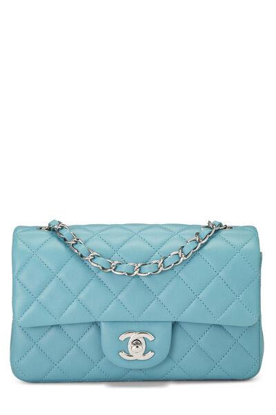 Blue Quilted Lambskin Classic Flap Mini