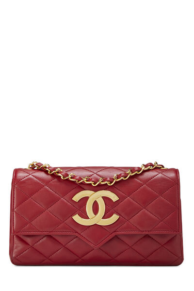 Red Quilted Lambskin Pointed Flap Small