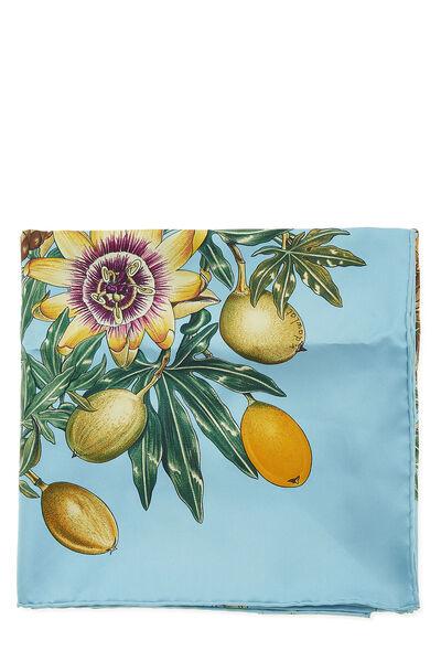 Blue & Multicolor 'Passiflores' Silk Scarf 90, , large