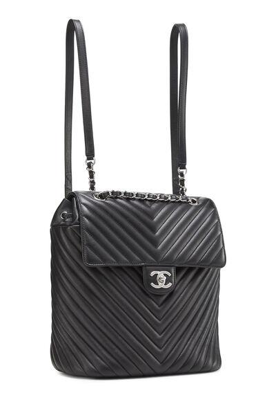 Black Chevron Lambskin Urban Spirit Backpack, , large