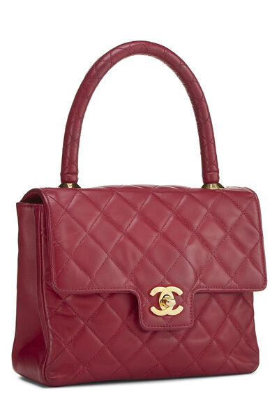 Burgundy Quilted Lambskin Top Handle Small, , large