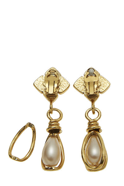 Gold & Faux Pearl Dangle Earring Large, , large