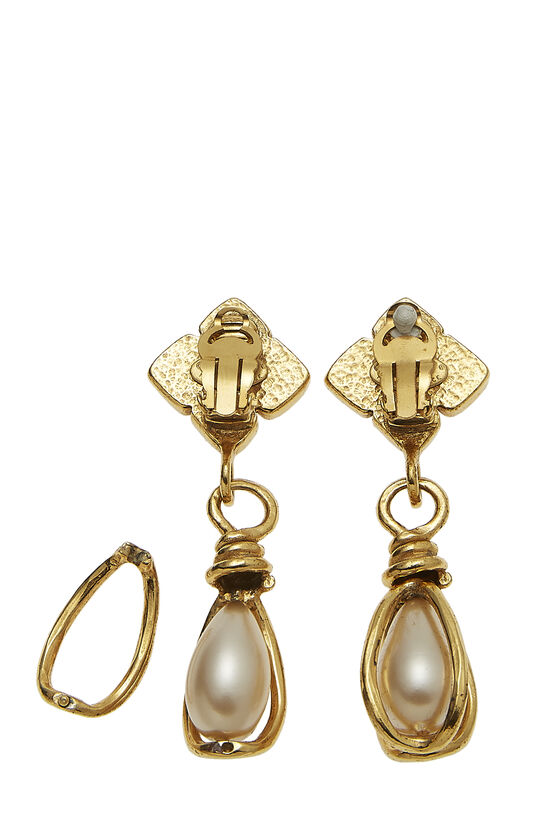 Gold & Faux Pearl Dangle Earring Large, , large image number 1
