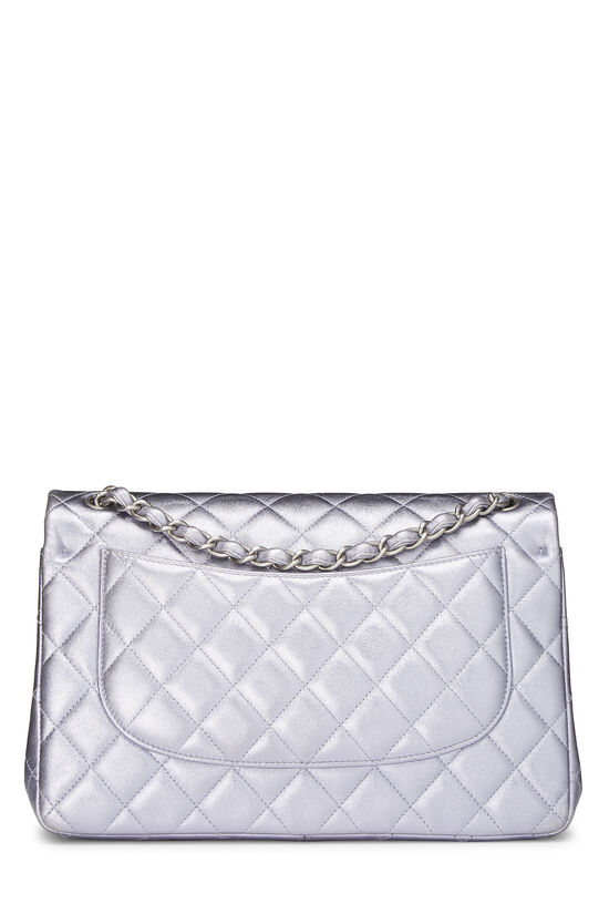 Metallic Purple Quilted Lambskin New Classic Double Flap Jumbo, , large image number 3