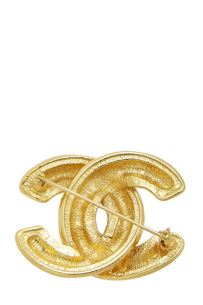 Gold Quilted 'CC' Pin Medium, , large
