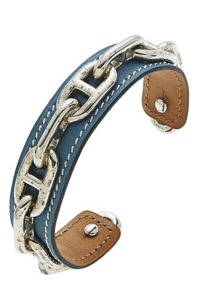 Blue Leather & Silver Chain Cuff