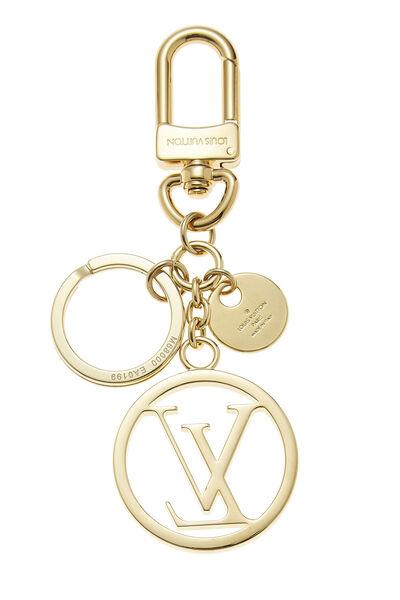 Gold Circle Monogram Bag Charm, , large