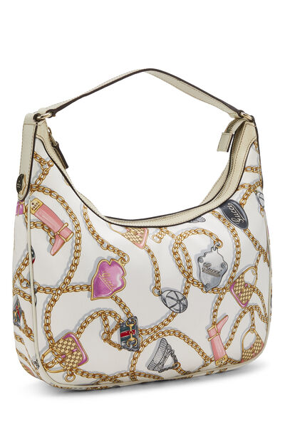White & Multicolor Satin Charmy Hobo, , large