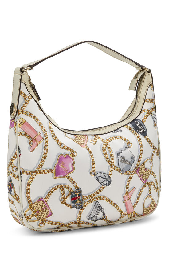 White & Multicolor Satin Charmy Hobo, , large image number 1
