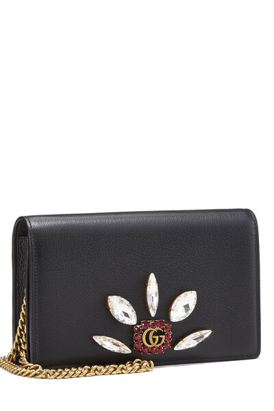 Black Leather GG Marmont Wallet on Chain Mini, , large