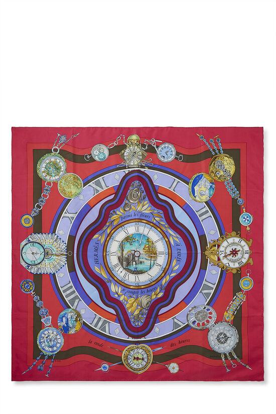 Red & Multicolor 'Parmi les Fleurs' Silk Scarf 90, , large image number 0