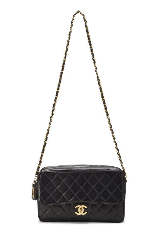 Black Quilted Lambskin Shoulder Bag Large, , large image number 6