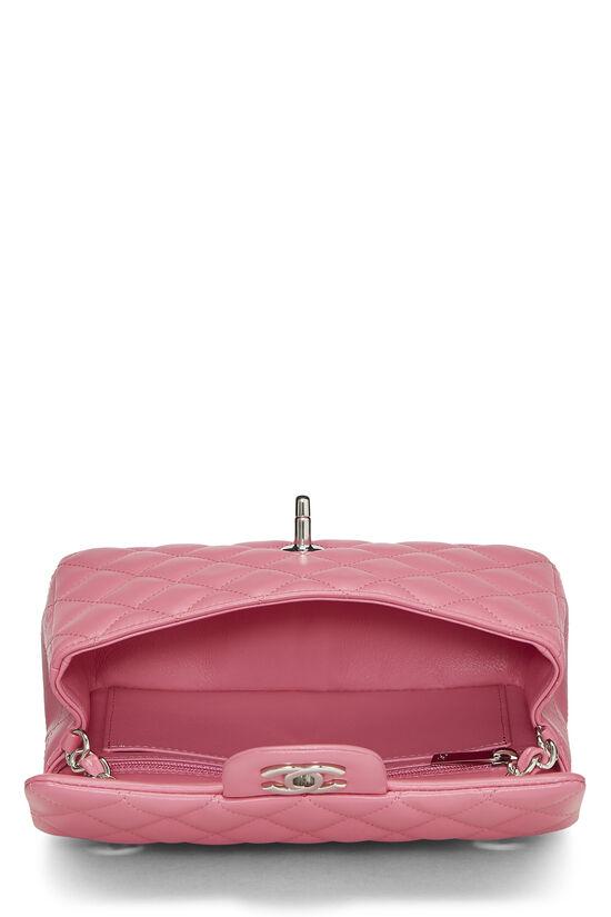 Pink Quilted Lambskin Rectangular Flap Mini, , large image number 5