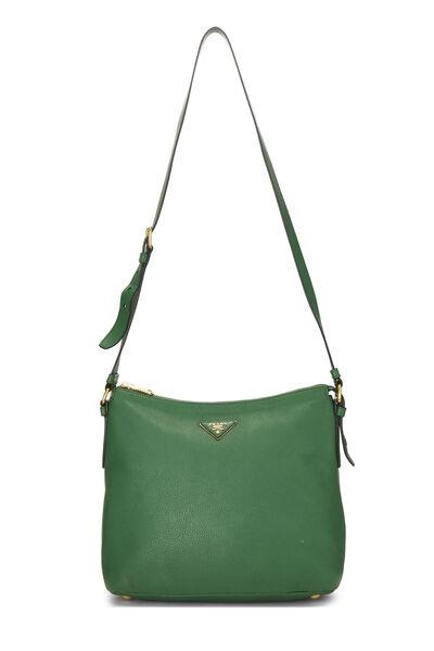Green Vitello Daino Shoulder Bag, , large