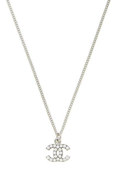 Silver Crystal 'CC' Necklace Small, , large