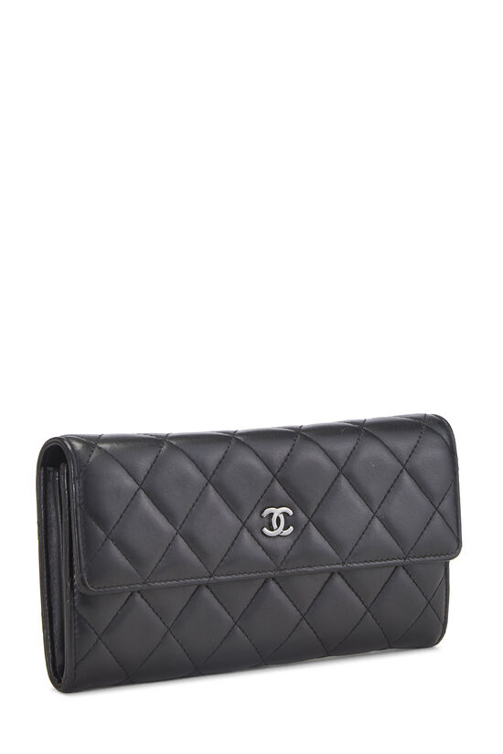 Black Quilted Lambskin Long Flap Wallet, , large image number 1