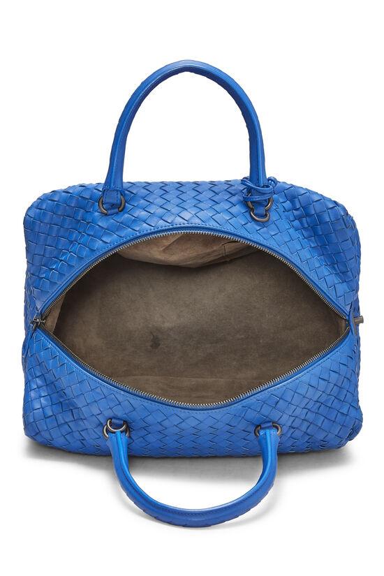 Blue Intrecciato Leather Boston, , large image number 6