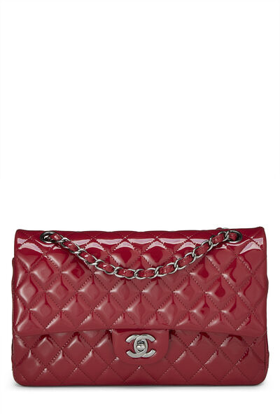 Red Quilted Patent Leather Classic Double Flap Medium