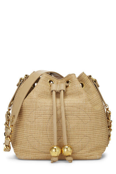 Beige Raffia 'CC' Bucket Bag Small