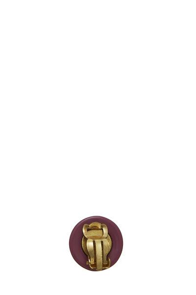 Purple Acrylic 'CC' Button Earrings, , large