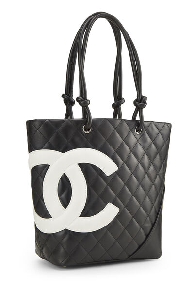 Black Quilted Calfskin Cambon Tote Small, , large
