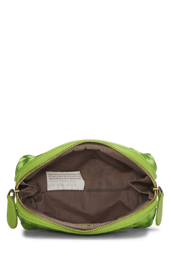 Green Intrecciato Satin Cosmetic Pouch, , large image number 3
