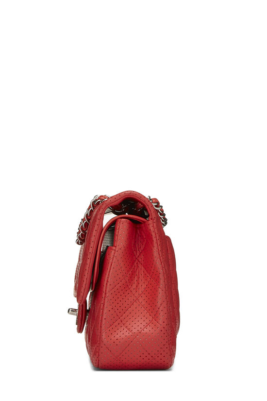Red Perforated Lambskin Classic Double Flap Medium, , large image number 2