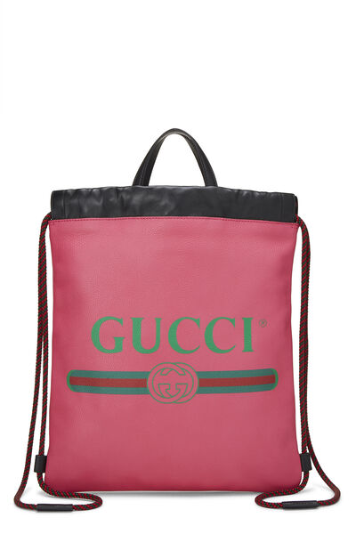 Pink Leather Drawstring Backpack
