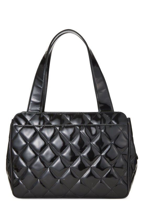 Black Quilted Patent Leather Tote Small, , large image number 3