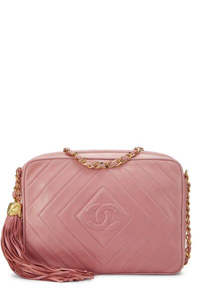 Pink Lambskin Diamond CC Camera Bag Medium