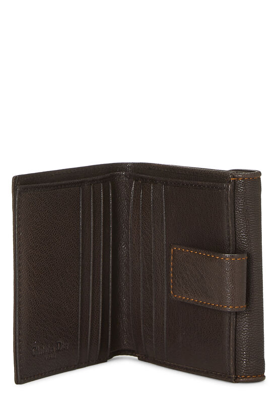 Brown Leather Logo Compact Wallet, , large image number 3