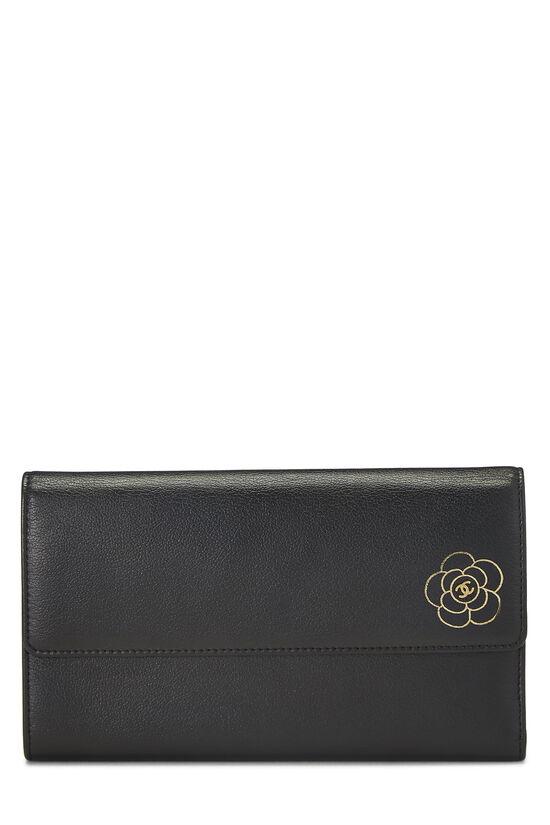 Black Calfskin Camellia Wallet, , large image number 0