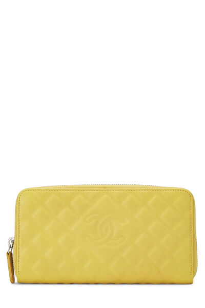 Yellow Lambskin 'CC' Zippy