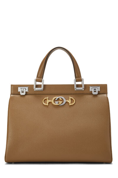 Beige Leather Zumi Top Handle Bag Medium