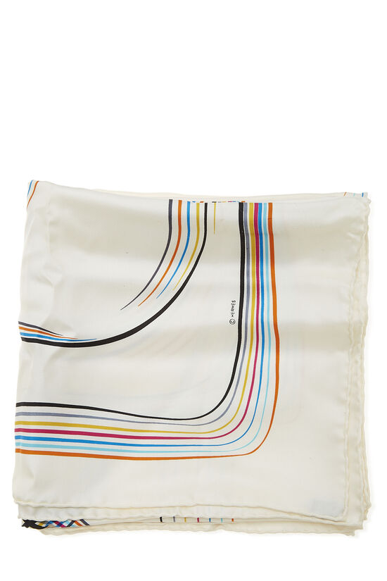 White & Multicolor '24 Faubourg' Silk Scarf 90, , large image number 1