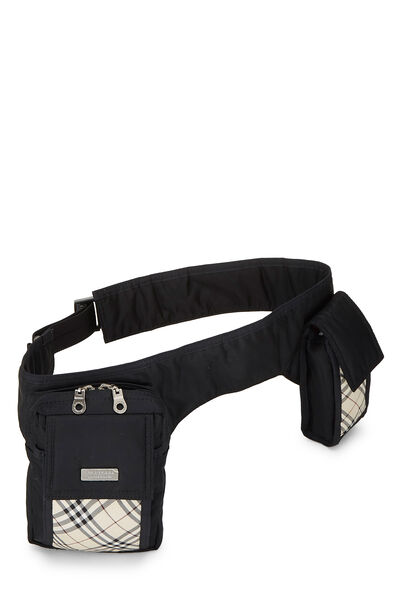 Black Nylon Check Belt Bag, , large