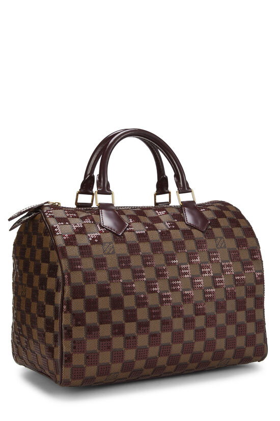 Red Damier Paillettes Speedy 30, , large image number 1