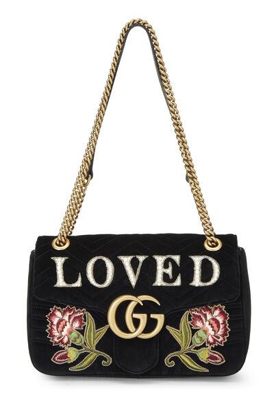 Black Velvet GG Marmont Loved Shoulder Bag