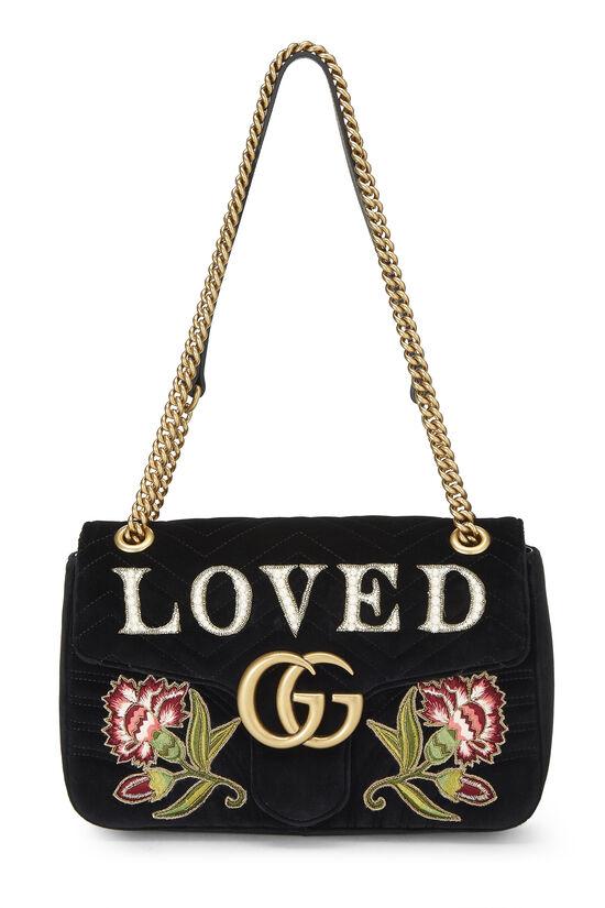Black Velvet GG Marmont Loved Shoulder Bag, , large image number 0
