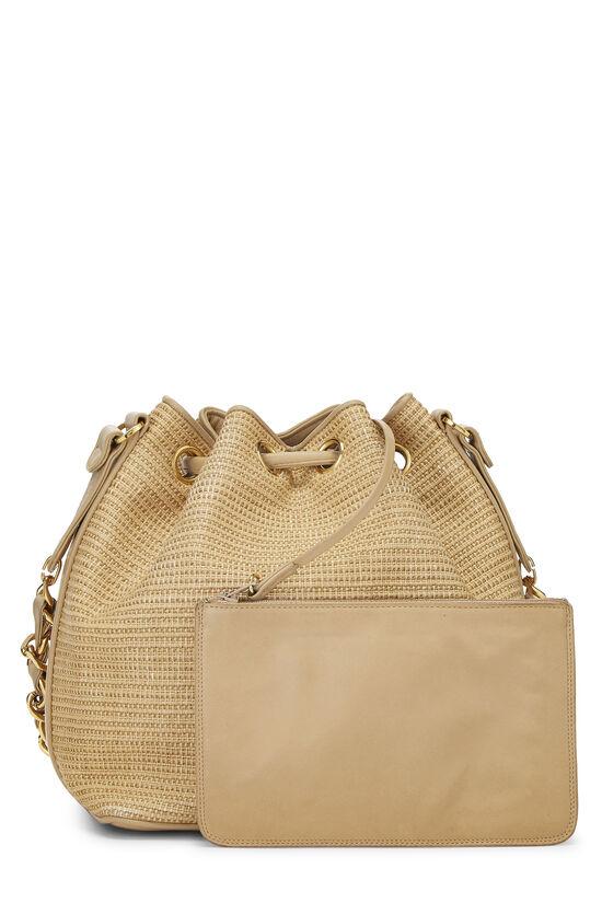 Beige Raffia 'CC' Bucket Bag Small, , large image number 3
