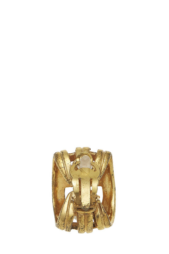 Gold 'CC' Cage Earrings, , large image number 1