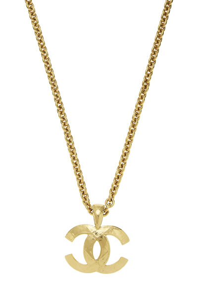 Gold Quilted 'CC' Necklace Large, , large