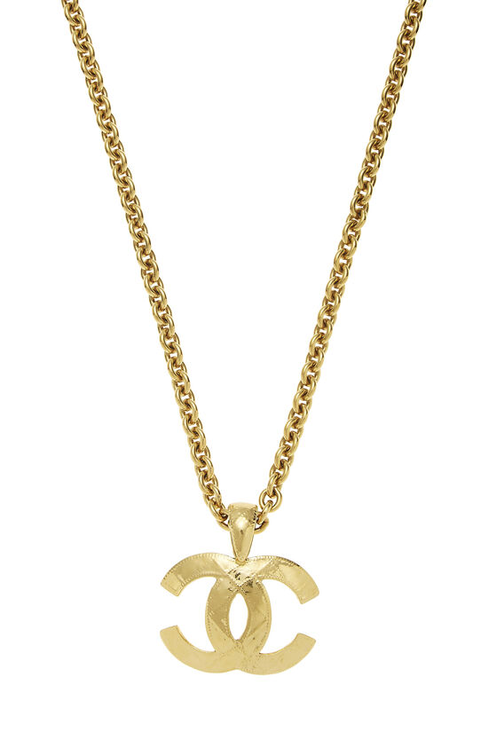 Gold Quilted 'CC' Necklace Large, , large image number 1