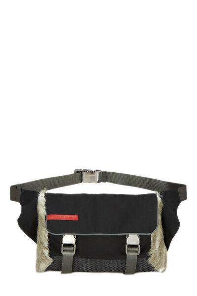 Black Nylon & Fur Sport Belt Bag